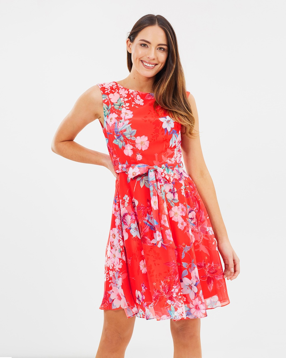 Wallis Pretty Neon Fit & Flare Dress Printed Dresses Coral Pretty Neon Fit & Flare Dress