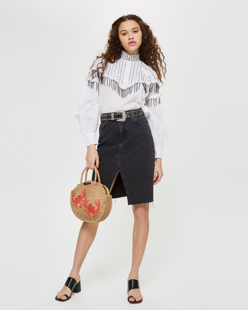 0b8dcaae17 Midi Denim Skirt by TOPSHOP Online | THE ICONIC | Australia
