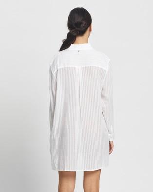 Rusty Sunrise Beach Shirt Dress - Swimwear (White)