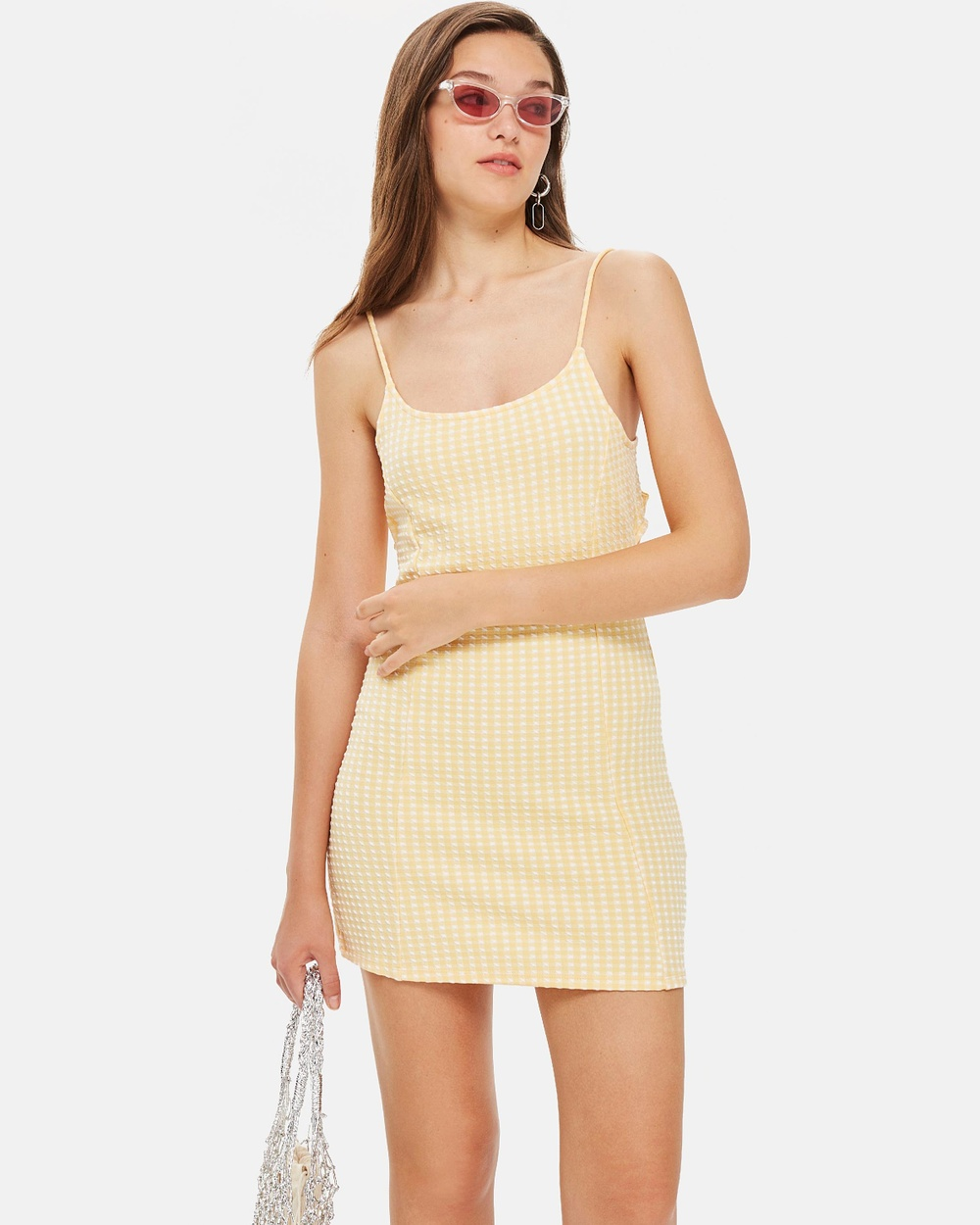 TOPSHOP Gingham Mini Pinafore Dress Dresses Yellow Gingham Mini Pinafore Dress
