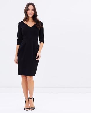 Closet London – Short Sleeve V Neck Dress Black