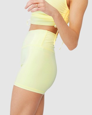 Factorie Cheeky Elevated High Waisted Bike Shorts - High-Waisted (Tender Yellow)