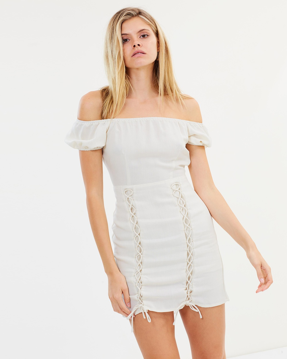 Photo of Atmos & Here Natural ICONIC EXCLUSIVE - Rosaline Off Shoulder Mini Dress - beautiful dress from Atmos & Here online