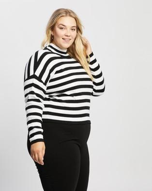 Atmos&Here Curvy Rebecca Rib Turtle Neck Top Tops (Black & White Stripe)