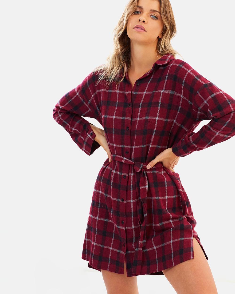 Atmos & Here ICONIC EXCLUSIVE Sahara Shirt Dress Dresses Red Check ICONIC EXCLUSIVE Sahara Shirt Dress