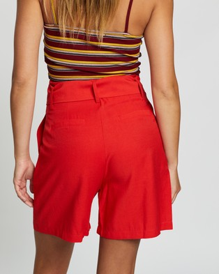 Glamorous High Waisted Long Line Shorts - High-Waisted (Red)