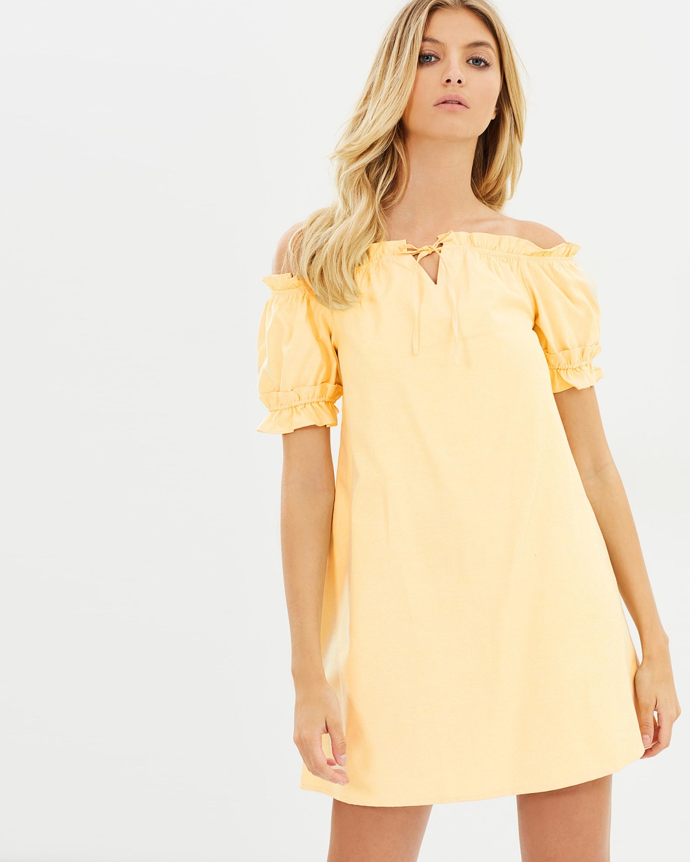 Atmos & Here ICONIC EXCLUSIVE Lulu Off Shoulder Dress Dresses Lemon Sherbet ICONIC EXCLUSIVE Lulu Off-Shoulder Dress
