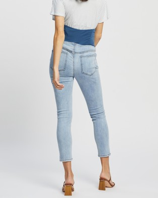 Cotton On Maternity Over Belly Cropped Skinny Jeans Crop Flynn Blue