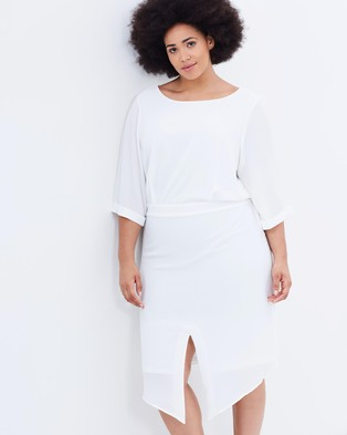 JUNAROSE – Helena 3 4 Sleeve Below Knee Dress – Dresses (Snow White)