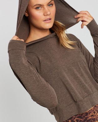 Running Bare Off Duty Cropped Workout Hoodie - Hoodies (Chocolate Marle)