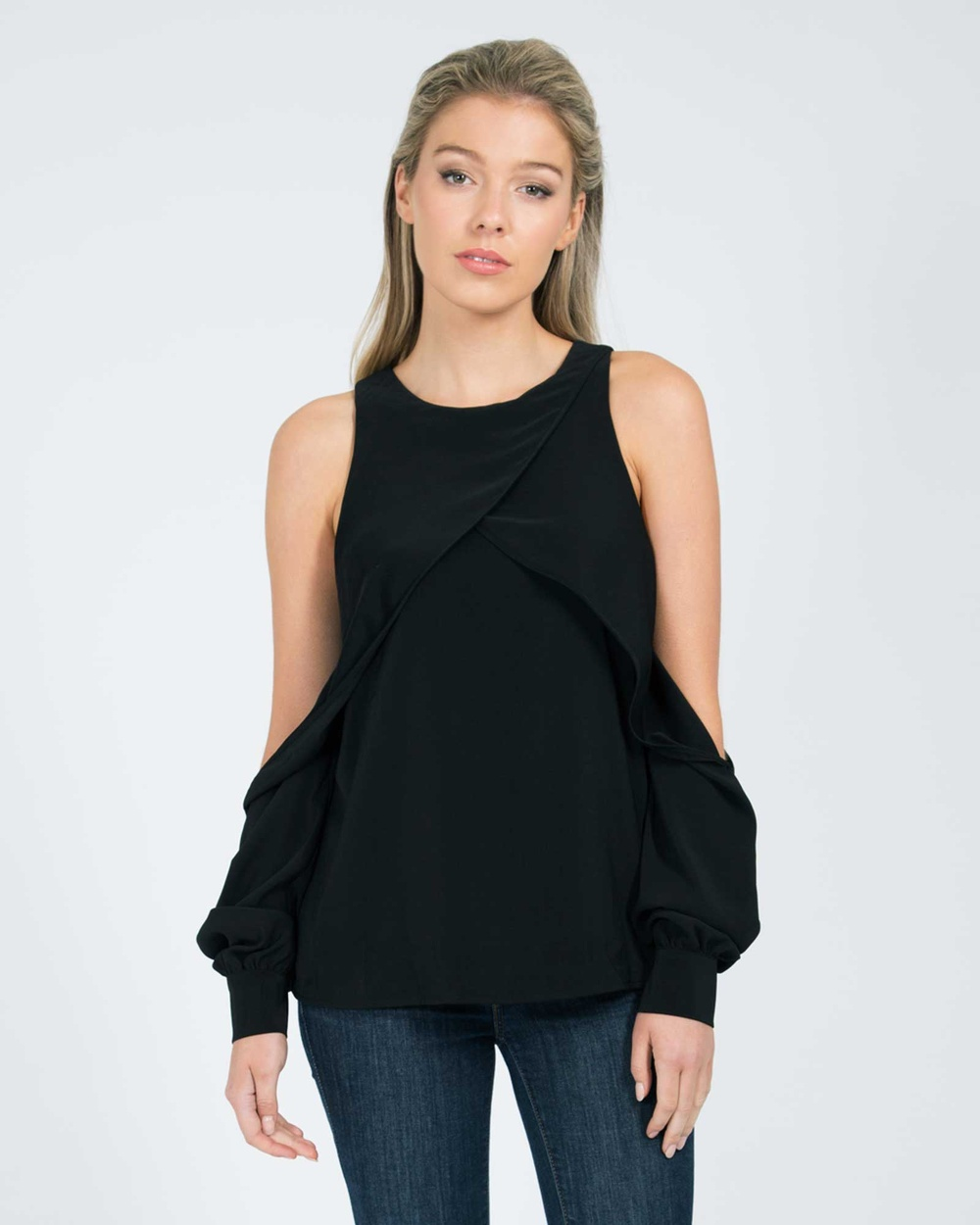 MVN Side Walk Open Shoulder Top Tops Black Side Walk Open Shoulder Top