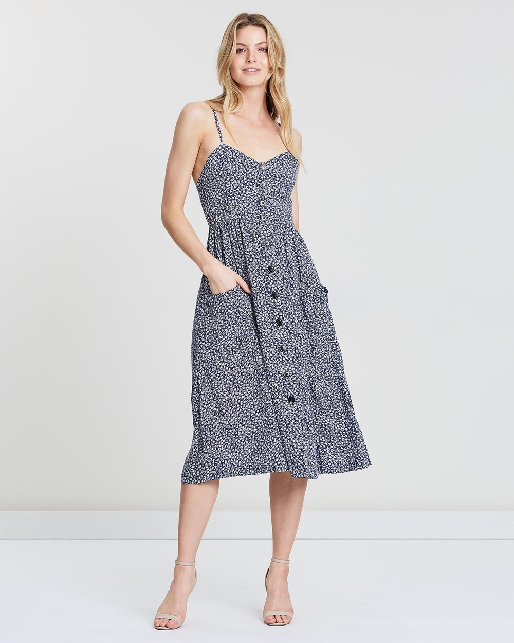 St. Frock Navy With Small White Floral Jezebel Dress