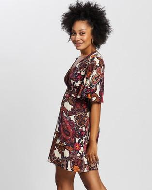 Dorothy Perkins Paisley Print Shirred Skater Dress - Printed Dresses (Purple)