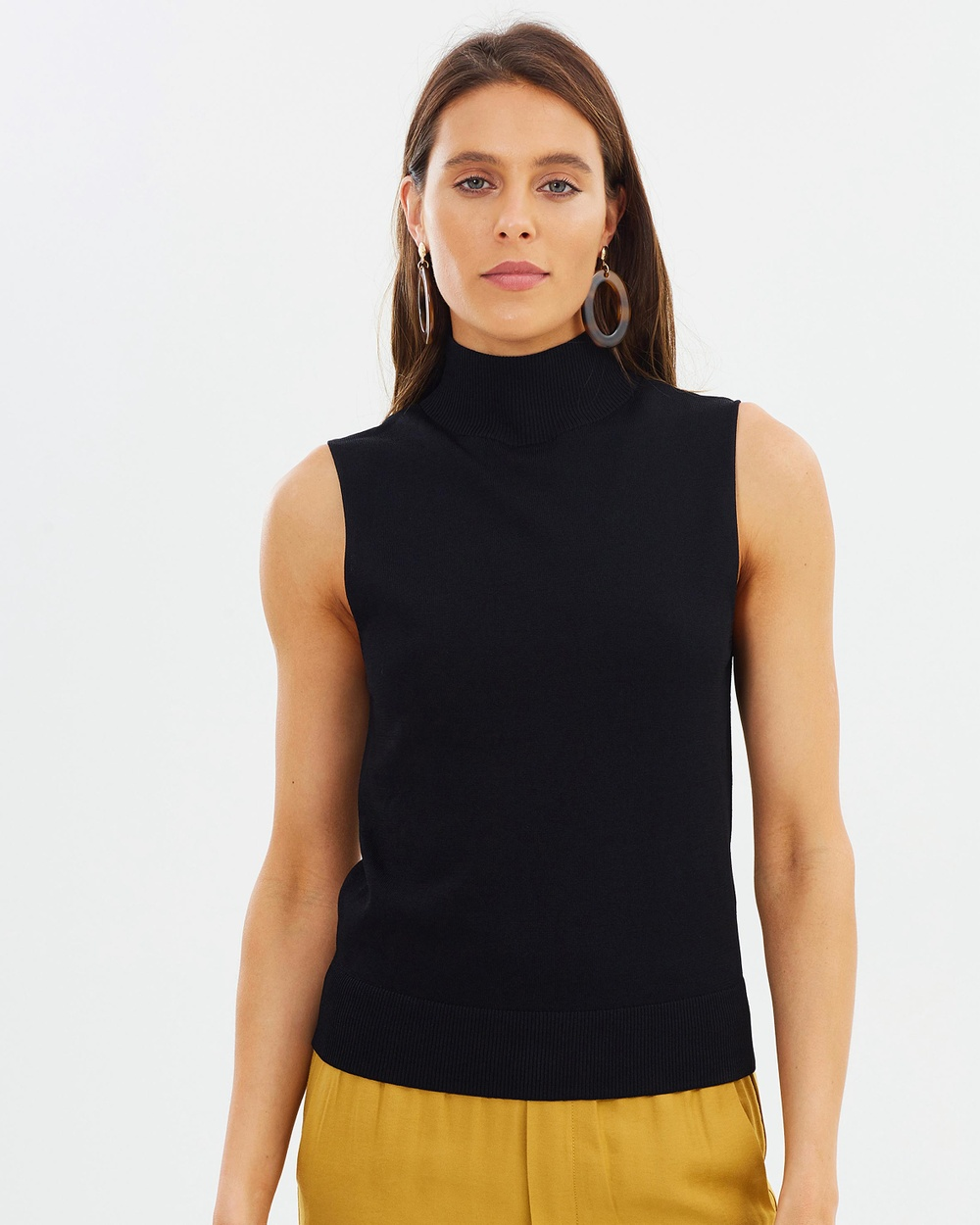 Incu Collection Sleeveless Turtleneck Tops Black Sleeveless Turtleneck