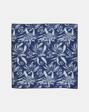Peggy and Finn Natives Pocket Square - Pocket Squares (Navy)