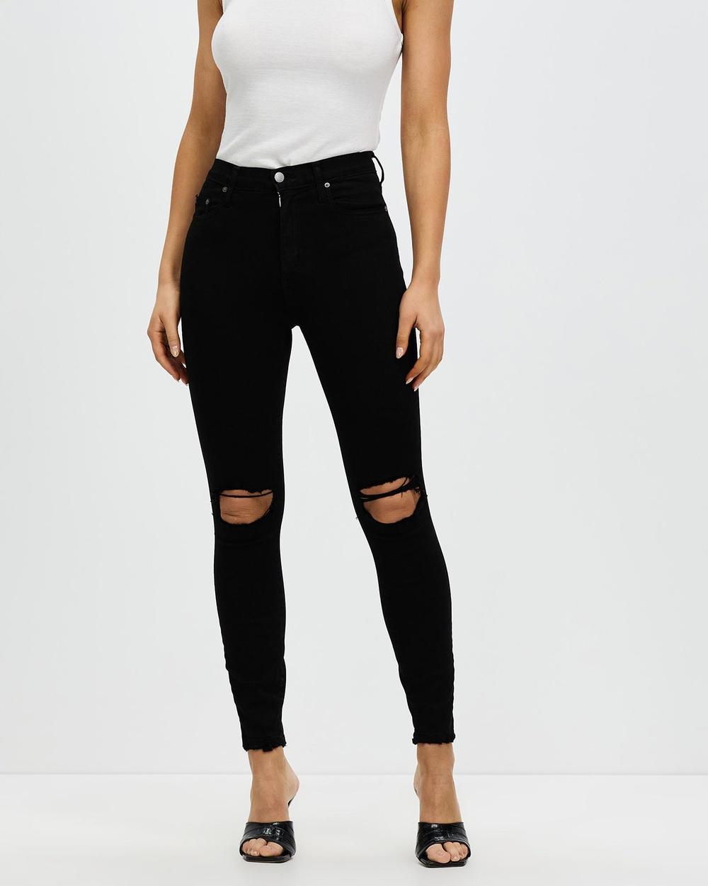 Nobody Denim Cult Skinny Ankle Jeans Crop Black Distress
