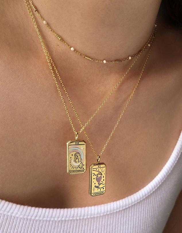 Women L'Imperatrice Gold Tarot Necklace