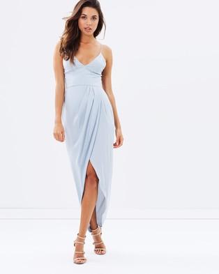 Shona Joy – Cocktail Draped Maxi Dress – Bridesmaid Dresses (Powder Blue)