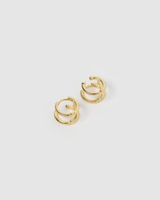 Arms Of Eve Double Hoop Huggie Earrings Jewellery Gold