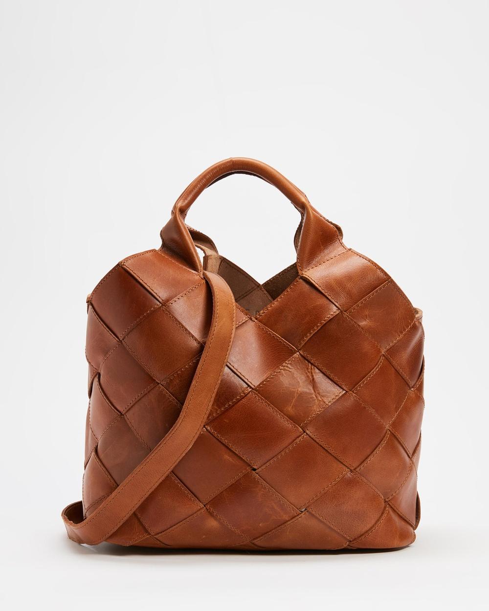 AERE Woven Leather Tote Bag Handbags Tan Leather