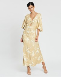 Shona Joy - Edgar Flutter Sleeve Ruched Midi Dress