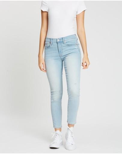 Gap Mid-rise Destructed True Skinny Ankle Jeans Light Indigo Destroy