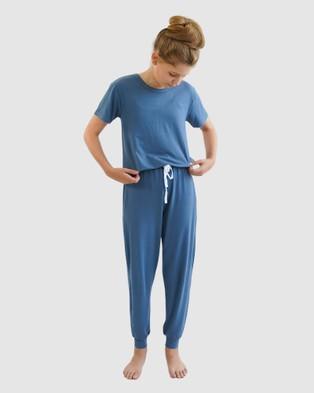 Love Haidee Lounge Pants & Short Sleeve Sleep Tee Set - Two-piece sets (Blue)