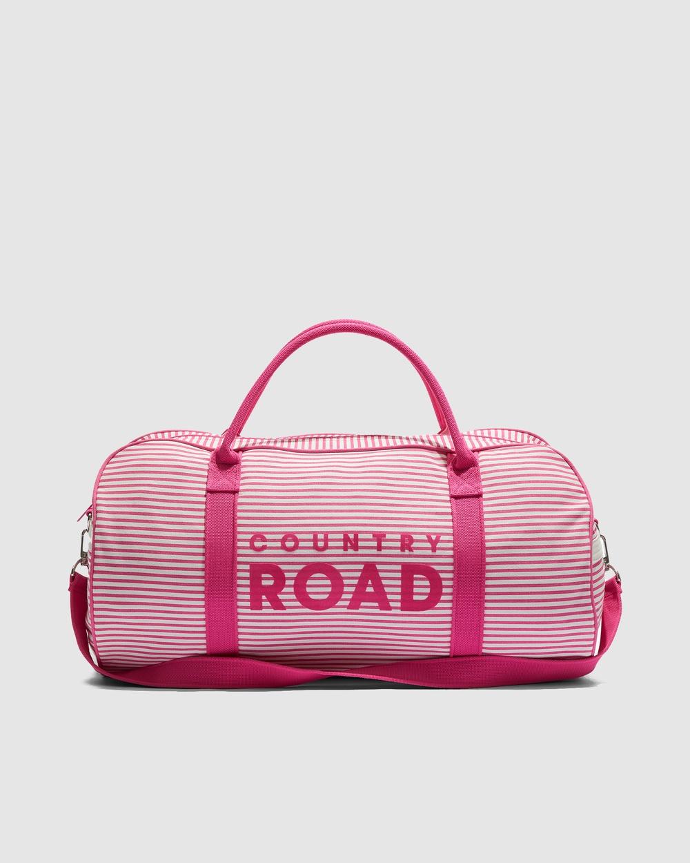 Country Road Flocked Stripe Tote Bags purple