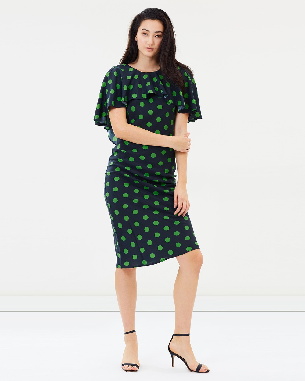 Gary Bigeni Jure Dress Printed Dresses Lime & Navy Polka Dots Print Jure Dress