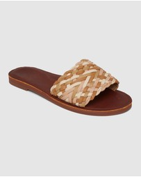 Roxy - Womens Arabella Woven Strap Leather Sandals