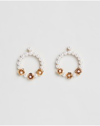 Johnny Loves Rosie - Metal Pearl Hoop Earrings