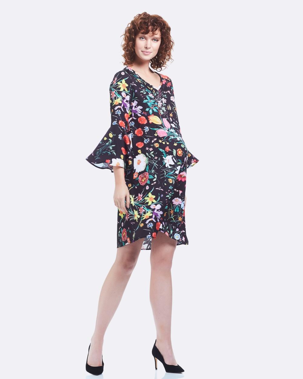 Soon Maternity Harper Bell Sleeve Dress Printed Dresses Black Harper Bell Sleeve Dress