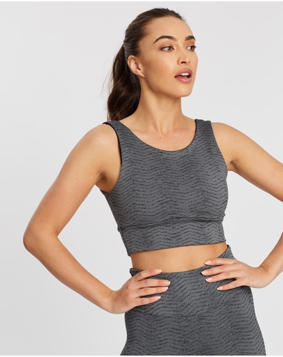 Ave Activewoman Geometric Extended Crop Top Dark Grey