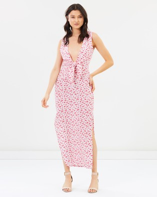 Buy Atmos & Here y Tie Front Maxi Dress - Printed Dresses Red Polka Roses -  shop Atmos & Here dresses online