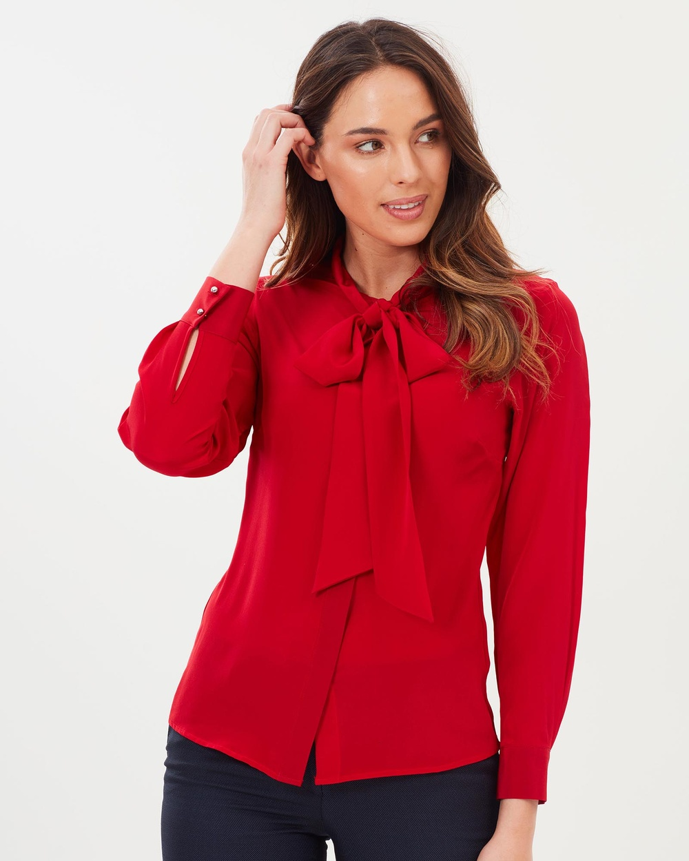 Farage Norah Bow Blouse Tops Red Norah Bow Blouse