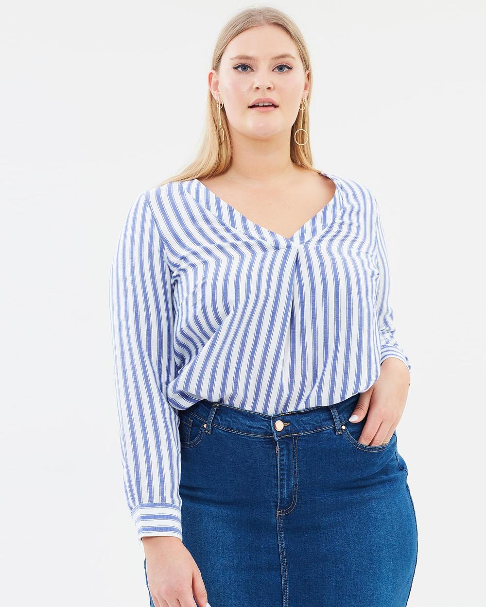 EVANS Striped Shirt Tops Blue Stripe Striped Shirt