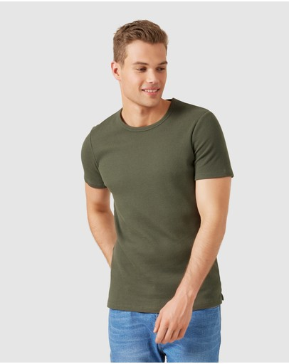 French Connection Waffle T Shirt Military Green