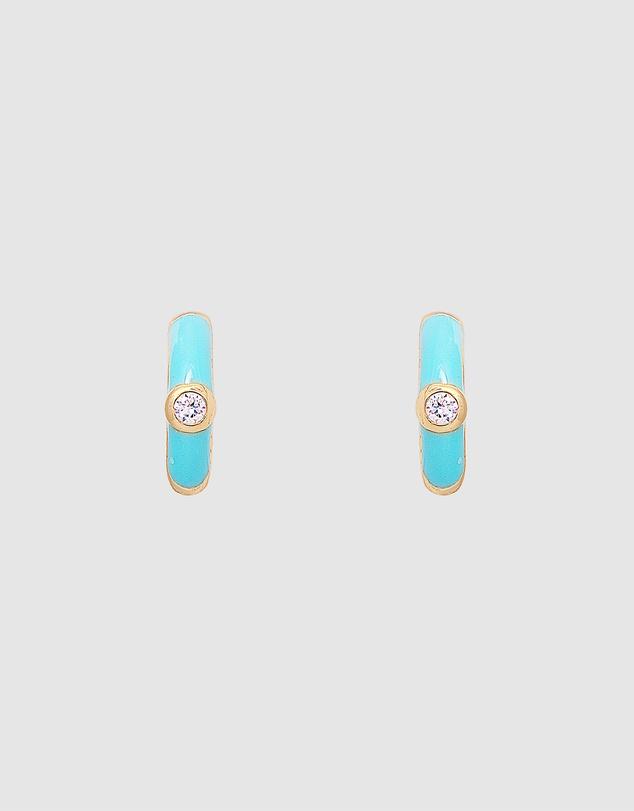 Women Turquoise Crystal Huggies