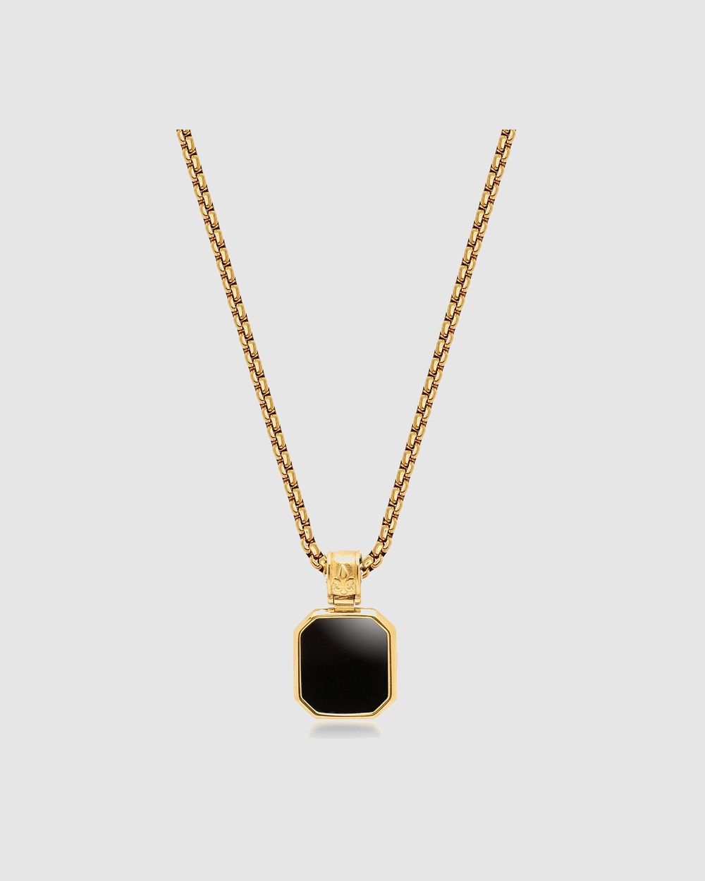 Nialaya Jewellery Men's Gold Necklace with Square Matte Onyx Pendant Gold