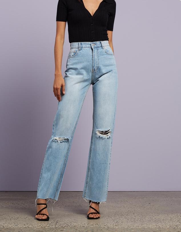 Women Harley Wide Leg Ripped Jeans