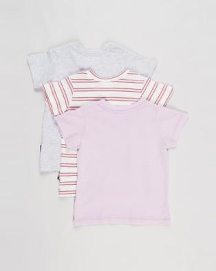 Cotton On Baby 3 Pack Jamie Short Sleeve Tee   Babies - T-Shirts & Singlets (Pale Violet Stripe, Cloud Marle & Pale Violet)