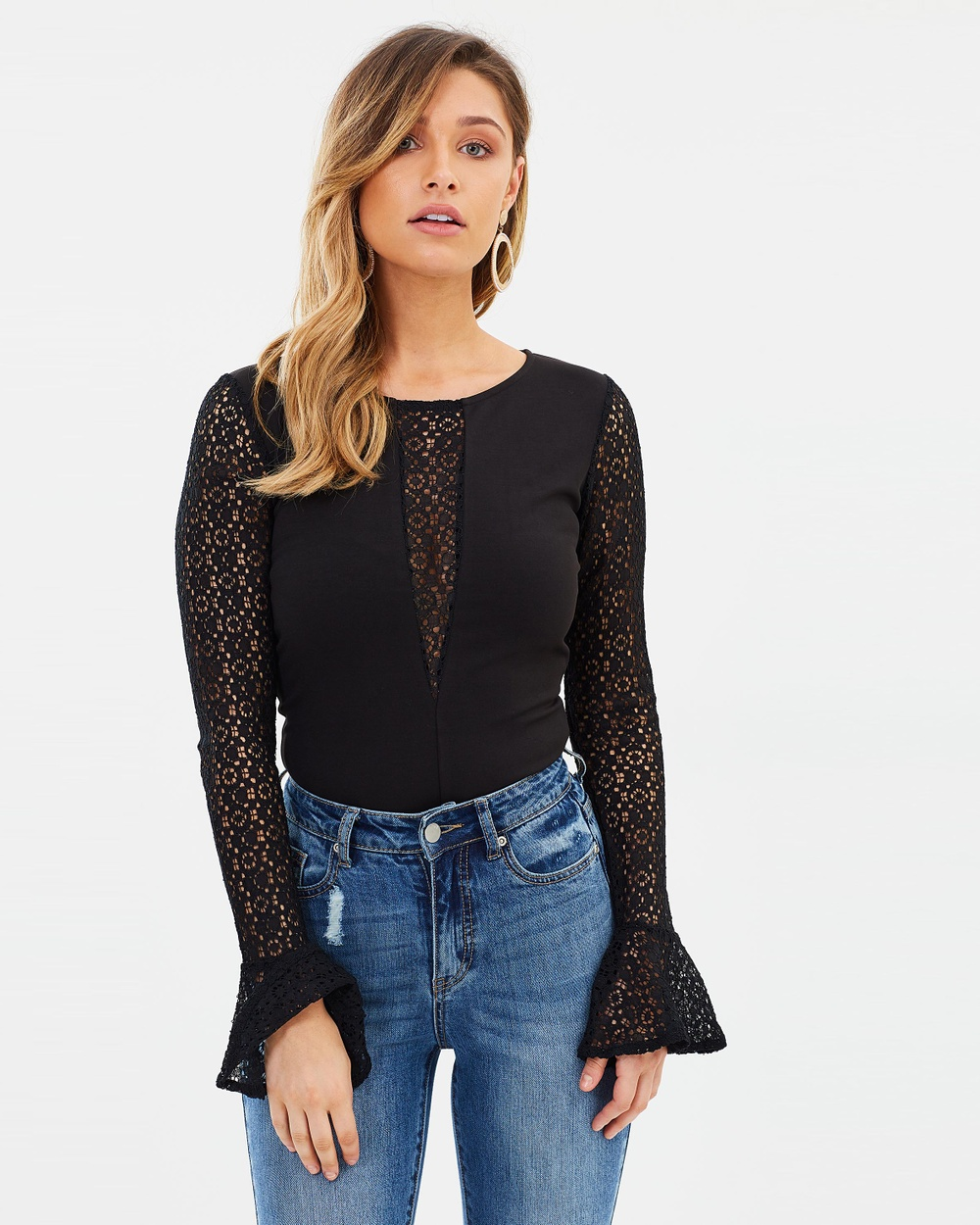 Atmos & Here ICONIC EXCLUSIVE Michelle Lace Contrast Bodysuit Tops Black ICONIC EXCLUSIVE Michelle Lace Contrast Bodysuit