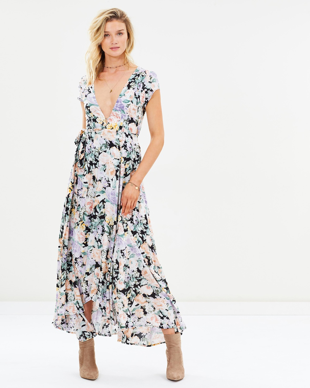 Auguste The Label Gardenia Goldie Wrap Maxi Dress Printed Dresses Charcoal Gardenia Goldie Wrap Maxi Dress