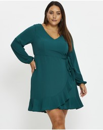 You & All - Plus V Neck Wrap Dress