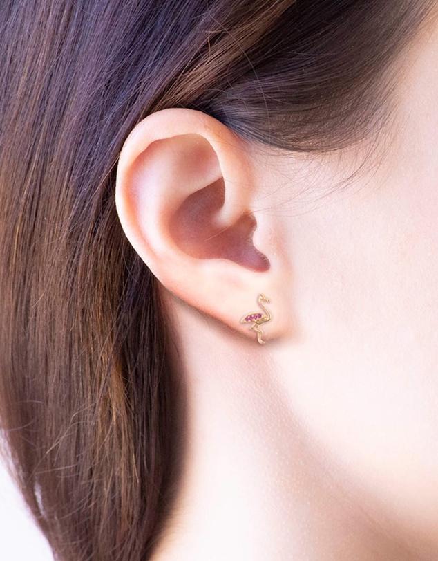 Women Earring Diamante Flamingo