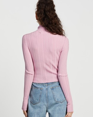 Dazie City Girl Roll Neck Knit Top - Jumpers & Cardigans (Pink)