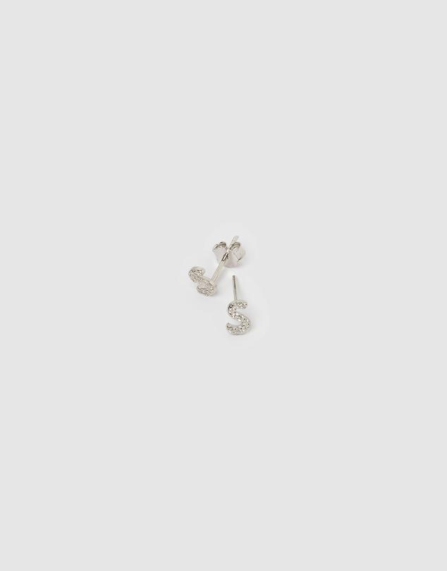 Women Alphabet Mini Letter S Stud Earrings Silver