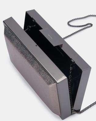 Olga Berg Chrisa Metallic Box Pod - Clutches (Gunmetal)