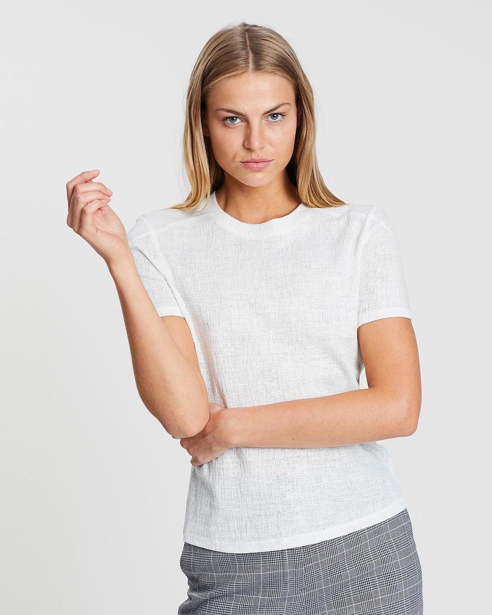 SABA Lucille Textured Tee T-Shirts & Singlets Ivory Australia