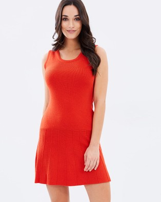 Privilege – Knit Dress Red-orange
